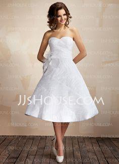 Wedding Dresses - $199.99 - Ball-Gown Sweetheart Knee-Length Taffeta Organza Wedding Dress With Ruffle Feather Flower(s) (002012097) http://jjshouse.com/Ball-Gown-Sweetheart-Knee-Length-Taffeta-Organza-Wedding-Dress-With-Ruffle-Feather-Flower-S-002012097-g12097