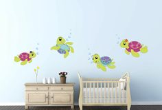 Cute Turtles Bubbles Wall Decal