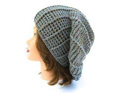 Pewter Gray Hat - Women's Crochet Hat - Slouchy Beret Tam - Tweed Beanie - Wool Blend Headwear - Crochet Accessories by BettyMarieJones on Etsy