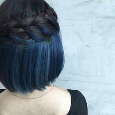 Blue + Blue Inner Hair Color