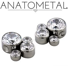 Captive Gem Clusters in ASTM F-138 stainless steel with CZ gemstones