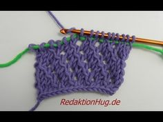 Knooking - Ajourmuster - Veronika Hug (IN GERMAN - If you are familiar with knooking, you can watch this video to learn this stitch. The video is very good. Crochet Afghans, Tunisian Crochet Stitches, Crochet Stitches Patterns, Knitting Stitches, Crochet Yarn, Crochet Hooks, Knitting Patterns, Knooking Tutorial, Crochet Videos