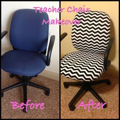 I purchased one yard of chevron fabric and gave this old donated office chair new
