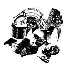 M.C. Escher – Eight Heads, Basic Block, 1922 Woodcut. 294mm x 189mm.