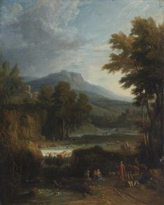 CIRCLE OF JAN FRANS VAN BLOEMEN, CALLED L'ORIZZONTE A CLASSICAL LANDSCAPE WITH HERDERS, A MOUNTAIN BEYOND oil on canvas 39 7/8 by 32 in.; 101.3 by 81.3 cm.