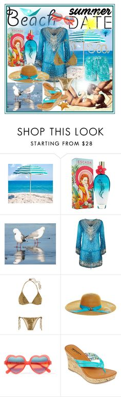 """""""Beach Summer Date"""" by giovanina-001 ❤ liked on Polyvore featuring Frankford, ESCADA, ELIZABETH HURLEY beach, L'Agent By Agent Provocateur, Betsey Johnson, Cutler and Gross, Arizona, Topman, beach and summerdate"""