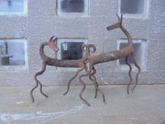 An Indian Tribal Iron Work Figure of a Pair of Deer Mating! Stag.  Handmade. Gypsy. Antique. Vintage. Retro. Genuine. Original. Rare. by Lallibhai on Etsy