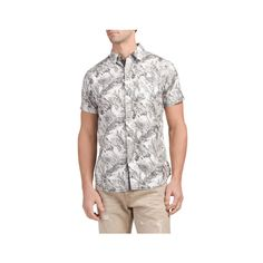 Short Sleeve Printed Poplin Shirt (17 CAD) ❤ liked on Polyvore featuring men's fashion, men's clothing, men's shirts, men's casual shirts, men's spread collar dress shirts, mens poplin shirt, mens short sleeve button down shirts and mens short sleeve shirts