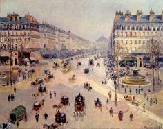 Impressionism (france Impressionist Canvas Print featuring the painting Avenue De L'opera In Paris by Camille Pissarro Georges Seurat, Paul Cezanne, Claude Monet, Camille Pissarro Paintings, French Impressionist Painters, Impressionist Artists, Paris Painting, Gustave Courbet, Grand Paris