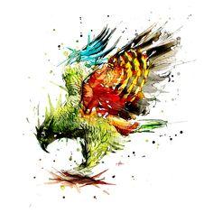 Kea. Watercolour and Ink Mixed Media. By Jeremy Kyle Artist  www.JeremyKyleArt.com