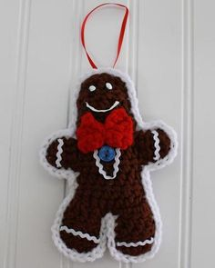 Gingerbread Man Ornament with Bow Tie