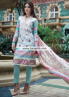 Classic Embroidered Lawn Suits Farah Talib Aziz Lawn Collection LSM 2015 Boston Massachusetts