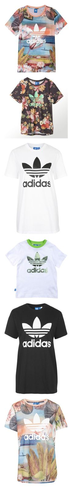 """""""Adidas Shirts"""" by king-alysa ❤ liked on Polyvore featuring tops, t-shirts, shirts, tees, curso dagua logo, shoes, women, womens clothing, adidas trefoil tee and graphic t shirts"""