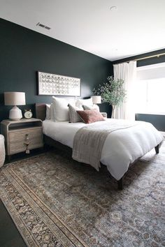 Obsessed with this dark guest room You ve gotta come see the before and after of this space From the dark green paint color to the oriental rug to the boho style it s absolute perfection boho darkgreenpaint bedroominspiration bedroomdecor bohostyle Luxury Bedroom Design, Master Bedroom Design, Home Decor Bedroom, Bedroom Furniture, Bedroom Ideas, Master Suite, Bedroom Designs, Ikea Bedroom, Interior Design