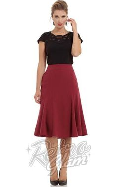 Voodoo Vixen 1940s Amy bell Skirt in Burgundy