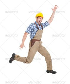 Manual Worker Running Over White Background ...  adult, background, bib, builder, construction, contractor, craftsman, electrician, hand, handyman, hardhat, hat, helmet, hurry, industrial, isolated, job, leap, maintenance, male, man, manual, men, mouth, one, open, overall, overalls, people, person, plumber, portrait, professional, protection, repairman, running, safety, screaming, service, studio, success, successful, technician, tradesman, tradesmen, uniform, white, worker, workwear, young