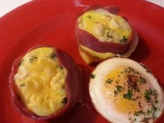 Turkey Bacon Wrapped Eggs - YUM! I made these today - super easy - and you get about 6 breakfasts out of them. Recipe is on my 'Dukan Diet Recipes' board.
