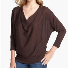 "Michael Kors Brown Zip Shoulder Cowl Neck Sweater Goldtone zippers atop the shoulders lend signature edge to a fine-gauge sweater styled with slouchy batwing sleeves gathered to a wide-banded hem. 28"" length  60% cotton, 40% rayon. NWOT MICHAEL Michael Kors Sweaters Cowl & Turtlenecks"