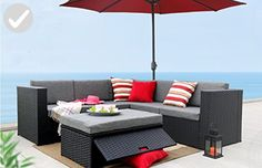 Baner Garden (K35) 4 Pieces Outdoor Furniture Complete Patio Wicker Rattan Garden Corner Sofa Couch Set, Full, Black - Improve your home (*Amazon Partner-Link)