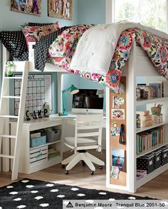 This Is my FAVORITE bed on PB Teen. I love the design plus school being in your bedroom is awesome. It can save a lot of space in your house plus all of your stuff can be in your bedroom.