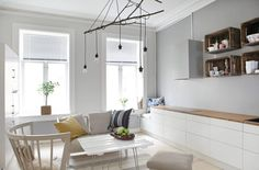 Gris et bois + jolie hotte An apartment full of ideas in Norway Furniture, Kitchen Interior, Home Decor Inspiration, Scandinavian Home Interiors, House, Living Dining Room, Living Room Workspace, Home Decor, Home Kitchens