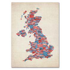 Michael Tompsett 'UK Cities Text Map 2' Art