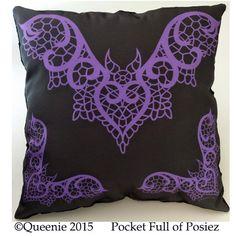 Lace Bat Design Purple Large Throw Pillow Soft Black Dot Pocket Full of Posiez by Posiez on Etsy