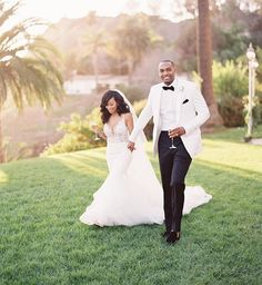 Brides: Los Angeles Wedding at Bel-Air Bay Club in Pacific Palisades, California: Photos Wedding Goals, Dream Wedding, Wedding Day, Trendy Wedding, Elegant Wedding, Wedding Styles, Wedding Planning, Black Wedding Dresses, Wedding Suits