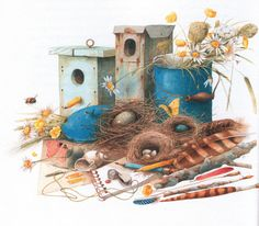 still life - I wish I had her talent for making old wood, sprigs of flowers, feathers and nests look so picturesque.