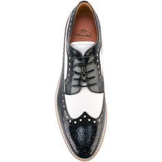 Church's platform brogues (€465) ❤ liked on Polyvore featuring shoes, oxfords, leather shoes, christ church oxford, church's shoes, black and white leather shoes and platform shoes