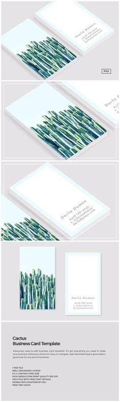 Cactus Business Card Template by The Design Label on @creativemarket