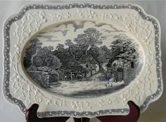 Black Transferware Cockington Forge Thatched Cottages w/ Embossed Border Platter by EnglishTransferware, $149.99