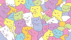 Image discovered by ✰. Find images and videos about cat, wallpaper and kawaii on We Heart It - the app to get lost in what you love. Tumblr Backgrounds, Cute Wallpaper Backgrounds, Cute Wallpapers, Iphone Wallpapers, Candy Wallpaper, Kawaii Wallpaper, Neko, Anime Tumblr, Kawaii Background