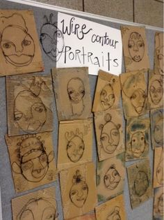 Art at Becker Middle School: Completed Wire Portraits ***theses look really cool!