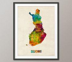 Finland Watercolor Map Suomi Art Print 999 by artPause on Etsy, £12.99