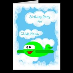 Airplane Birthday Party Invitation-Customizable Card