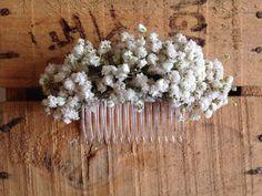 Dried Gypsophila Baby's Breath Ladies Hair Comb Slide