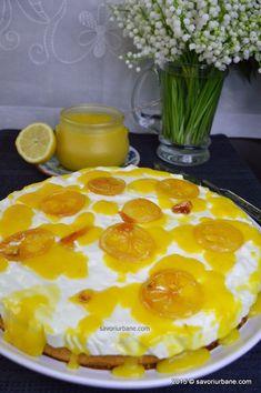 Tort-de-lamaie-cu-iaurt (15) Lemon Curd, Pudding, Desserts, Cakes, Food, Lemon Custard, Deserts, Custard Pudding, Kuchen