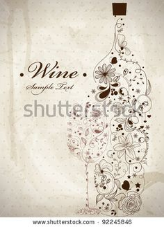 stock vector : Abstract picture of wine bottle and wine glass