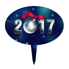 Happy New Year 2017 Oval Cake Toppers.  Matching greeting cards, postage stamps and other products available in the Christmas & New Year Category of the Mairin Studio store at zazzle.com