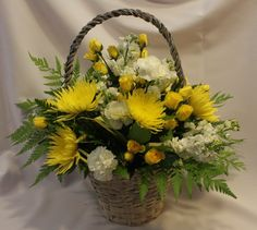 FOR FUNERAL PARLOR AND FOR HOME Fresh flower arrangement or plant can be delivered to a visitation, service, business or residence of your choice. Green Funeral, White Carnation, Scripture Cards, Funeral Flowers, Carnations, Bright Yellow, Fresh Flowers, Flower Arrangements, Floral Design