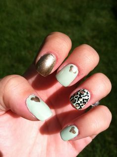 Mint and Gold Nail Design!