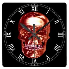Red Chrome Skull Square Roman Numerals Clock  Halloween decoration for the home.   http://www.zazzle.com/red_chrome_skull_square_roman_numerals_clock-256008367878861935?rf=238271513374472230  #halloween  #halloweendecoration