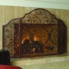 Provincial Fireplace Screen Wonderful iron fireplace screen featuring graceful curves & spirals and sculptured in fashion sure to enhance your room's decor.