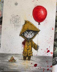 Georgie – It — Inktober art print – Graffiti World Scary Drawings, Dark Art Drawings, Halloween Drawings, Halloween Art, Cute Drawings, Arte Horror, Horror Art, Desenhos Halloween, Horror Drawing