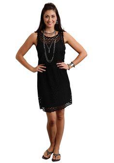 f3205ac296e023 Stetson Ladies Black Polyester Tear Drop Crochet Lace Tank Dress