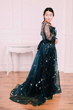 Goth Wedding Dresses, Party Dresses, Formal Dresses, Homecoming Dresses High Low, Prom, Blue Dress With Sleeves, Galaxy Wedding, Organza Dress, Fabulous Dresses