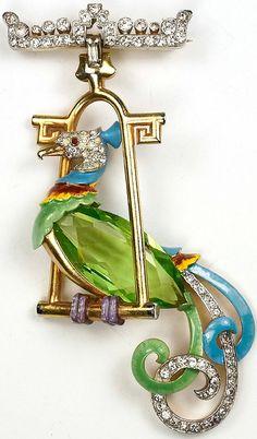 Mazer Peridot Pave and Enamel Bird of Paradise on Pendant Golden Swing Perch Pin