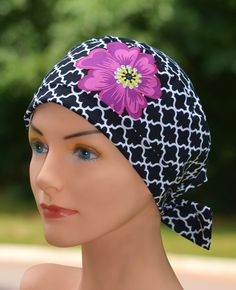 The Mini with Fabric Ties Scrub Hat Chemo Cap by thehatcottage