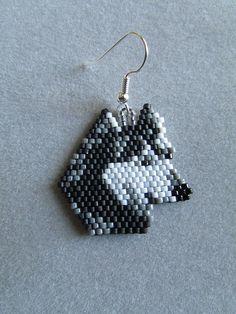 Beaded Wolf Earrings by DsBeadedCrochetedEtc on Etsy